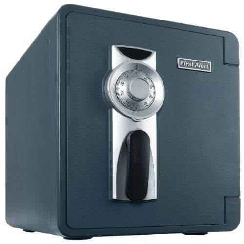 First Alert 2087F Waterproof 1 Hour Fire Safe with Combination Lock, 0.94 Cubic Foot, Gray
