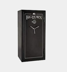 BIGHORN 19ECB Gun Safe. Thicker steel (2.75mm) and extra fire lining provides more security and fire protection, making the 19ECB substantially heavier than the competition