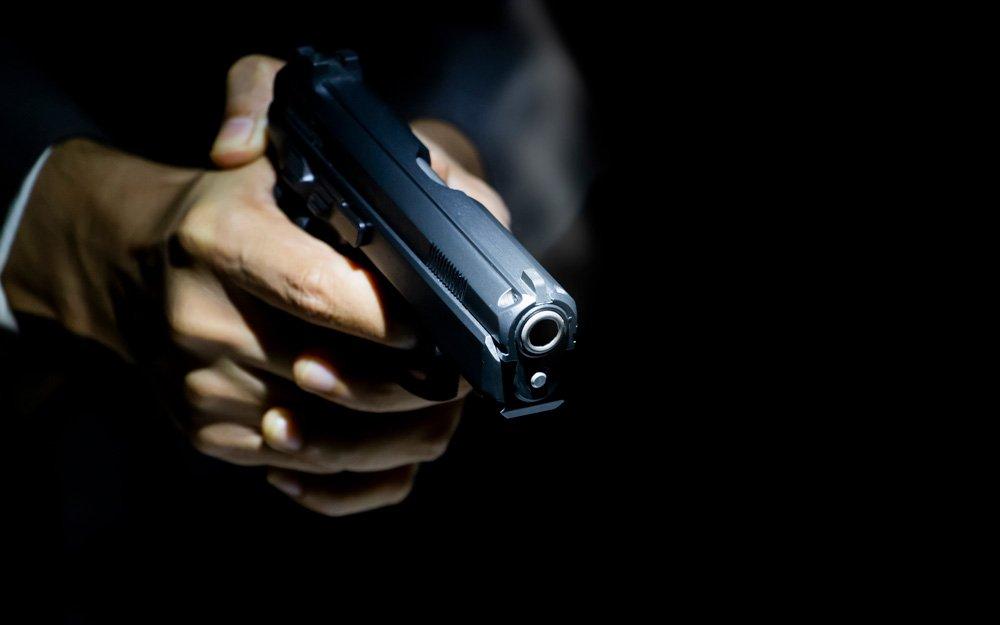 Close up gunman